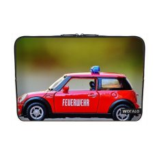 WOFALO 12.6 12.8 13 13.3 Inch Laptop Sleeve Case Casing Cover Neoprenefor MacBook/Netbook/Laptop/Notebook/ Ultrabook Fire MINI COOPER Carmodel Mainan Mobil Lampu Merah dan Biru Kendaraan-Intl