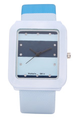 Womage Wanita Blue Leather Strap Watch 9614 Di Tiongkok