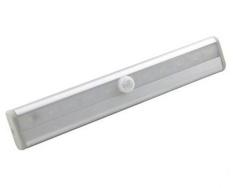 Womdee Tongkat On 10 LED Gerakan Sensor Malam Ringan Nirkabel LED Di Bawah Cahaya Kabinet Bar untuk Tangga Lemari Langkah (perak) -Internasional