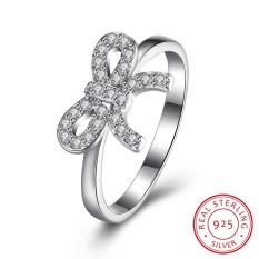 Wanita 925 Sterling Silver Anniversary Janji Pernikahan Cincin dengan Ikatan Simpul Hias Cubic Zirkonia Ukuran 8-Intl