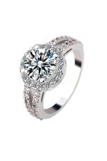 Perempuan 925 Sterling Perak Diamond Sekitar Keterlibatan Partai Pernikahan Perhiasan Kristal Not Specified Diskon