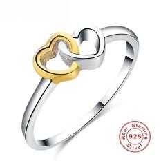 Wanita 925 Perak Berkilau Double Cincin Hati Adalah Pilihan Yang Sempurna untuk Lamaran Nikah Ukuran 9-Intl