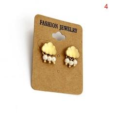 Women Alloy Cloud Crystal Rain Drop Faux Pearl Pendant Earrings Ear Stud Jewelry Gold 2cm*1.5cm - intl