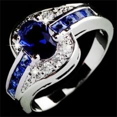 Wanita Biru Sapphire Putih Emas Diisi Cincin Pertunangan Jewellry Biru Ukuran 9-Intl