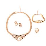 Harga Pengantin Wanita Pesta Prom Set Perhiasan Anting Anting Kalung Berlian Imitasi Satu Set