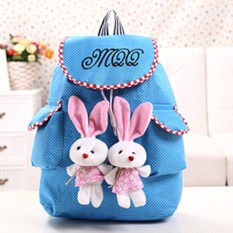 Pusat Jual Beli Women Canvas Satchel Travel Cute Rabbit Sch**l Backpack Ransel Tas Bahu Biru Tiongkok