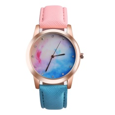 Wanita Chic Permen Luar Biasa Warna Kulit Sabuk QUARTZ Watch (Multicolor)-Intl