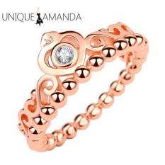 Wanita Chic Ratu Mahkota Berlian Pernikahan Cincin Tunangan Cincin (Mawar Emas)-9-Intl