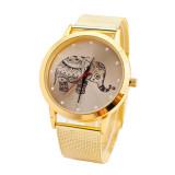 Jual Wanita Emas Klasik Gajah Quartz Stainless Steel Wrist Watch Antik