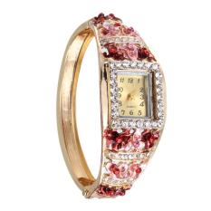 Jual Women Dress Watches Flower Plated Rhinestone Quartz Bracelet Watches No 6 Tiongkok Murah