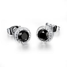 Wanita Elegant Jewellery Platinum Disepuh Stud Earring Black Solitaire Zirkonia Tindik Telinga-Intl