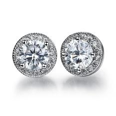Wanita Elegant Jewellery Platinum Disepuh Stud Earring Clear Solitaire Zirkonia Tindik Telinga-Intl