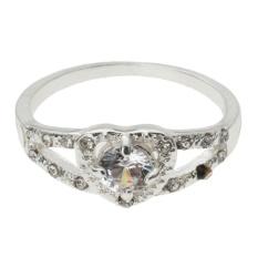 Women Keterlibatan Pernikahan Crystal Heart Berbentuk Love Cincin Berlapis Platinum (Silver)-8-Intl