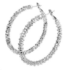 Mode UNTUK WANITA Perhiasan Anting Bulat Lingkaran Dilapisi Perak Anting-anting Gantung Perak-Intl