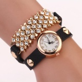 Kualitas Women Fashion Design Pu Rounded Bracelet Watch Black Intl Oem