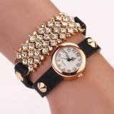 Review Women Fashion Design Pu Rounded Bracelet Watch Black Intl Di Tiongkok