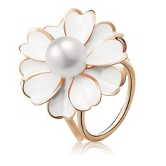 Wanita Fashion Elegan Tiga Ring Scarf Clip Berlian Imitasi Bunga Syal Gesper Cincin Putih-Intl