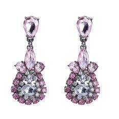Wanita Fashion Geometris 6.0*2.4 CM Multicolour Imitasi Rhodium Plated Earrings Online Imitasi Rhodium Berlapis-Internasional