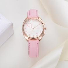 Wanita Fashion Kulit Band Analog QUARTZ Round Wrist Watch Watches Pink-Intl
