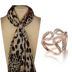 Wanita Fashion Mutiara Diamante Klip Syal Buckle Tiga Cincin Rhinestone Bros Pin