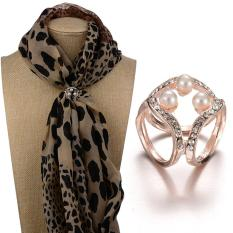 Fashion wanita mutiara tiga cincin rantai Diamante Pin bros gesper klip syal dengan pohon mutiara besar berlapis emas - International