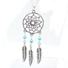 Women Fashion Retro Dream Catcher Feather Charm Pendant Long Chain Necklace- - intl
