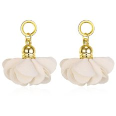 Women Flower 3.2 Cm*2.5 Cm White Antique Gold Plated Earrings Online Antique Gold Plated - intl