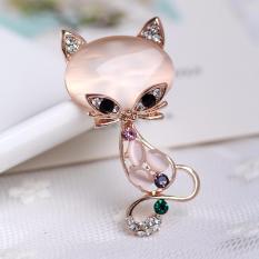 Wanita Rubah Bentuk Opal Bros Berlian Imitasi Dekoratif Tandai Gaun