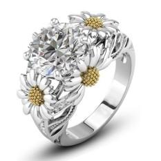Wanita Hadiah Bunga Matahari dan Diamond Cincin Perhiasan Pernikahan Cincin Perak-Intl