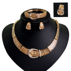 Wanita Emas Bridal Anting-Anting Kalung Cincin Gelang Perhiasan Set-Intl