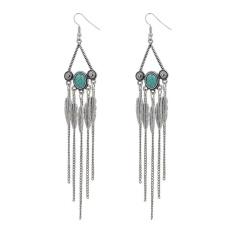 (QIMIAO) Wanita Fashion Perhiasan Turquoise Daun Jumbai Anting Warna: Antik Silver-Intl