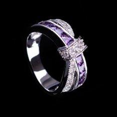 Wanita Perhiasan Putih Emas Ungu Amethyst Cincin Jari Cross Elegan Cincin (Ukuran: 6)
