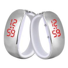 Wanita Ladies Sport LED Plating Tahan Air Gelang Digital Jam Tangan Silver Intl