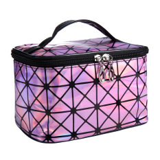 b76437d23c80 Wanita Wanita Perjalanan Tas Kosmetik Makeup Fashion 3D Laser Diamond Pola  Portabel Berwarna Merah Muda