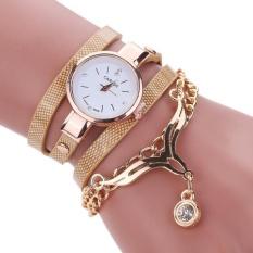 Wanita Kulit Rhinestone Og Quartz Wrist Watch Emas Tiongkok