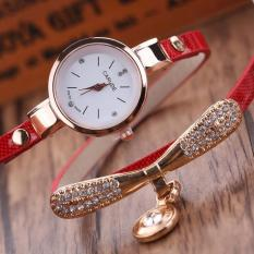 Review Tentang Ulamore Women Leather Rhinestone Analog Quartz Wrist Watches Red Intl
