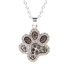 Liontin Berlian Imitasi Kalung Perak Wanita Motif Cantik Bekas Cakar Anjing Hitam Putih
