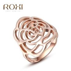 Wanita Mewah Korea Gold Selling Tren Gaya Kreatif Lingkaran Retro Platinum Perhiasan Sederhana Zirkon Mawar Cincin