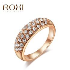 Wanita Mewah Korea Gold Jual Tren Gaya Kreatif Tiga Baris Cincin Berlian Retro Perhiasan Sederhana Zirkon Cincin Putih Asli Hiasan kristal Modis Klasik Pernikahan Cincin Pertunangan Kado Kualitas Terbaik Perhiasan-Internasional