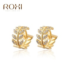 Wanita Mewah Barat Jual Emas Trend Gaya Kreatif Gold Plating Stud Earrings Retro 14 K Emas Willow Perhiasan Sederhana Zircon Stud Earrings Asli Ornamen Fashion Pernikahan Klasik Pertunangan Anting Top Kualitas Hadiah Perhiasan-Intl