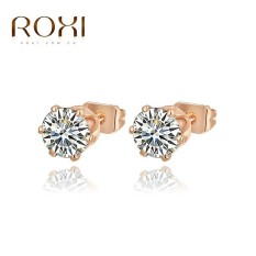 Wanita Mewah Barat Jual Emas Trend Gaya Kreatif Gold Plating Stud Earrings Retro Berlian Perhiasan Sederhana Zircon Stud Earrings Asli White Crystal Ornamen Fashion Pernikahan Klasik Pertunangan Anting Top Kualitas Hadiah Perhiasan-Intl
