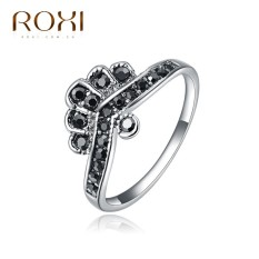 Wanita Mewah Barat Perak Selling Tren Platinum Mahkota Berlian Hitam Retro Perhiasan Sederhana Zirkon Cincin Asli Ornamen Modis Klasik pernikahan Cincin Pertunangan Kado Kualitas Terbaik Perhiasan-Internasional