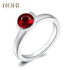 Wanita Mewah Barat Perak Jual Tren Merah Berlian Cincin Retro Perhiasan Sederhana Zirkon Cincin Asli Ornamen Modis Pernikahan Klasik Pertunangan cincin Kado Kualitas Terbaik Perhiasan-Internasional