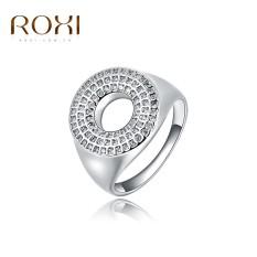 Wanita Mewah Barat Perak Jual Tren Lingkaran Platinum Cincin Retro Perhiasan Sederhana Zirkon Cincin Asli Ornamen Modis Pernikahan Klasik Pertunangan cincin Kado Kualitas Terbaik Perhiasan-Internasional