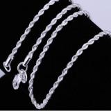Harga Wanita Pria Fashion Indah 925 Sterling Tali Simpul Perak Link Chain Lobster Gesper Kalung Perhiasan Yang Murah