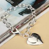 Harga Perempuan Anak Baru 925 Sterling Perak Mengisi Jantung Ganda Hati Liontin Gelang Origin