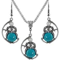 Wanita Owl Perhiasan Set Batu Alam Pendant Kalung Anting Antik Paduan Berlapis Perak Rantai Hadiah Warna: NTZ-L21 Suit-Intl