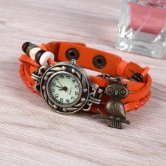 Women Owl Pendant Weave Analog Quartz Wrist Watch Leather Band Bracelet - intl