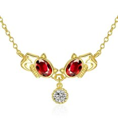 Promo Toko Women Red Resin Crystal Cats Hollow Out Pendant Necklace Gold Plated Jewelry Choker Chunky Statement Body Neck Chain Collar Intl