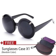 Retro Fashion Wanita Sunglasses Round Designer Flip UpGlassesVintage Polikarbonat Tembus Pandang (Hitam Tawny)-Intl